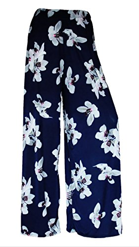 NEW LADIES FLORAL PRINT PALAZZO TROUSERS WOMENS WIDE LEG SUMMER PANTS PLUS SIZES 8-26