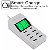 Microware LCD Display Fintie 8-Port USB Charger 46W High Speed Charging Station With Intelligent [Auto Detect] Tech Desktop Rapid USB Charging Hub Portable For IPhone, IPad, Galaxy S6 / Edge & More, White