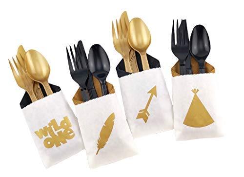 Wild One Cutlery - Party Supplies Geschenktüten für den ersten Geburtstag (Servietten Und Mädchen Baby-dusche-teller)