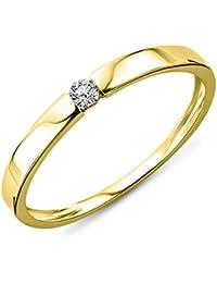 Miore Damen-Ring Solitaire 9 Karat ( 375 ) Gelbgold mit Brillant 0.05ct Diamant weiß Rundschliff Gr. 52 (16.6) -MIN924R2
