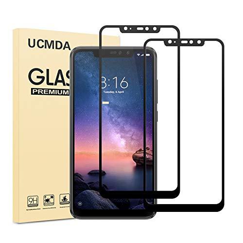 UCMDA Protector de Pantalla Xiaomi Redmi Note 6 Pro [2 Piezas], Xiaomi Redmi Note 6 Pro Cristal Templado [Cobertura Completa 3D] [Sin Burbujas], Vidrio Templado Xiaomi Redmi Note 6 Pro