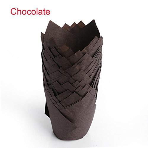 SULUO 50 stücke Tulpe Blume Papier Cupcake Liner Form Schokolade Cupcake Wrapper Backen Muffin Papier Liner Halter Hochzeit Zubehör, Schokolade - Cupcake-liner Blumen