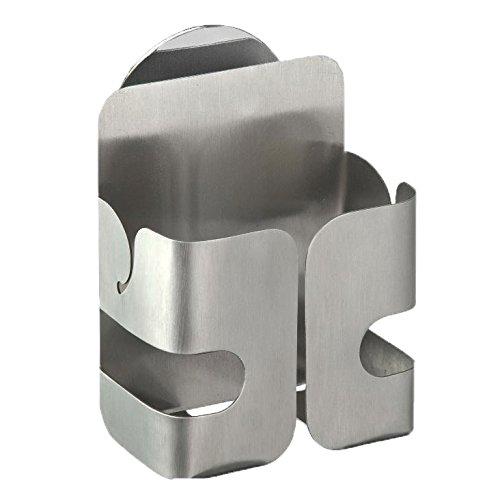 Wenko 2020040100 Turbo-Loc Schwammhalter - Befestigen ohne bohren, Edelstahl rostfrei, 8.1 x 11 x 5.3 cm, Silber matt