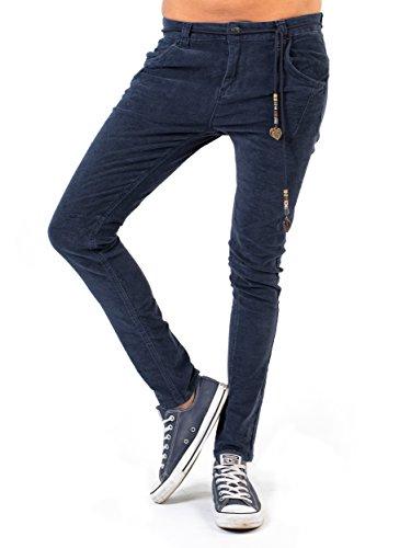 Lücke Khaki-hose (BIANCO JEANS Damen Hose B.F. Velvet - lockere Boyfriend Jeans aus samtigem Stoff - Navy - 40)
