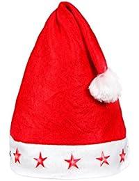 Alsino 12 Stück Weihnachtsmützen Nikolausmützen Leuchtsterne rot 15