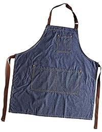 FLAMEER Nuevo Unisex Jeans Delantal Cocina Panadería Bata Antifouling Para  Cocinar Hornear d7591a747b8