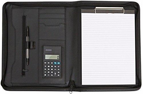 Portablocco Cucitura Verde Porta carte di credito Cartella Portfolio Portadocumenti A4 con maniglia estraibile e chiusura Zip Calcolatrice