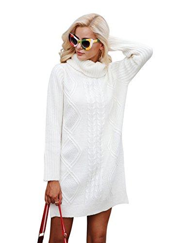 Simplee Apparel Damen Lang Sweater Winter Elegant Langarm Rollkragen Kabel Split Strick Pullover Kleid Jumper Weiß