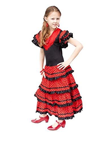 Flamenco Spanische Tänzerin Kostüm Senorita - La Senorita ® Spanische Flamenco Kleid/Kostüm - für Mädchen/Kinder - Schwarz/Rot (Größe 152-158 - Länge 105 cm- 10-11 Jahr, Mehrfarbig)