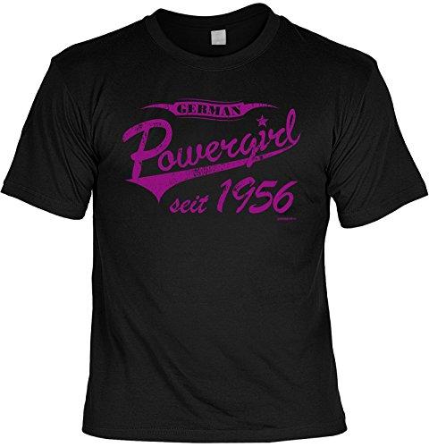 T-Shirt zum Geburtstag - German Powergirl seit 1956 - Geburtstagsgeschenk - Fun shirt - Geschenkidee - schwarz Schwarz