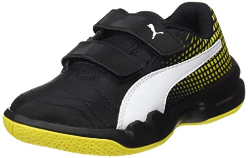 Puma Unisex-Kinder Veloz Indoor NG V Jr Multisport Schuhe, Schwarz Black-White-Blazing Yellow, 34 EU