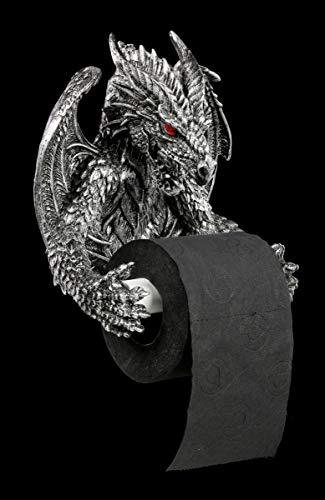 Preisvergleich Produktbild Drachen Toilettenpapierhalter silber - Deko Figur