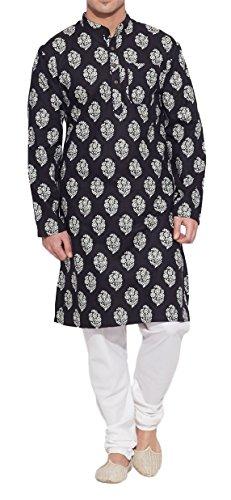 ShalinIndia Männer Baumwoll Lange Kurta Nehru Kragen 3 Taschen, M-CLK36-1013, Schwarz, Größe-36-Zoll