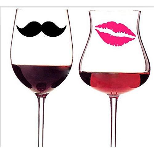 10 Schnurrbärte 10 Lippen Vinyl Aufkleber Aufkleber für Hochzeitsdekoration, Tassen, Tassen, Weinglas (Schnurrbart-aufkleber Für Tassen)