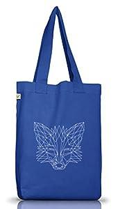 Fox Jutebeutel Stoffbeutel Earth Positive mit Polygon Fuchs Motiv, Größe: onesize,Bright Blue