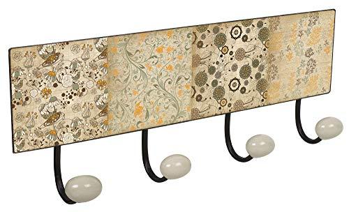 Lashuma Metall Garderobenleiste Blechschild Design: Ornamente | Antik Wandgarderobe 40x15,5 cm Küche - Badezimmer - Büro