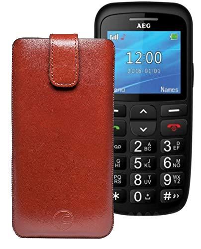 Favory ECHT Ledertasche Leder Etui AEG Voxtel SM315 Tasche (Lasche mit Rückzugfunktion) braun