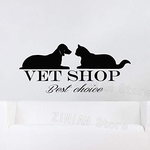 guijiumai Pet Adesivo Animale Cane Gatto Vinile Wall Sticker Vet Shop Grooming Decor Impermeabile Autoadesivo Decalcomanie Murale Rimovibile Nero 67X30 cm