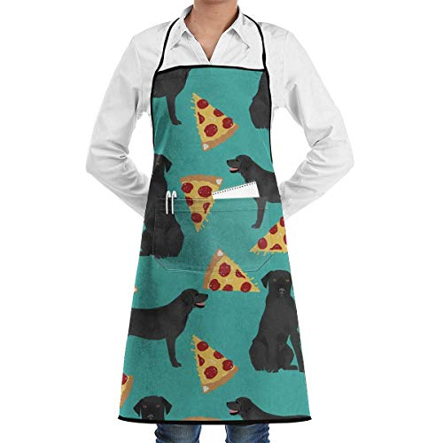 Drempad Unisex Schürzen, Black Lab Pizza Adjustable Apron with Pocket & Extra-Long Ties, Men and Women Kitchen Apron for Cooking, Baking, Crafting, Gardening, BBQ