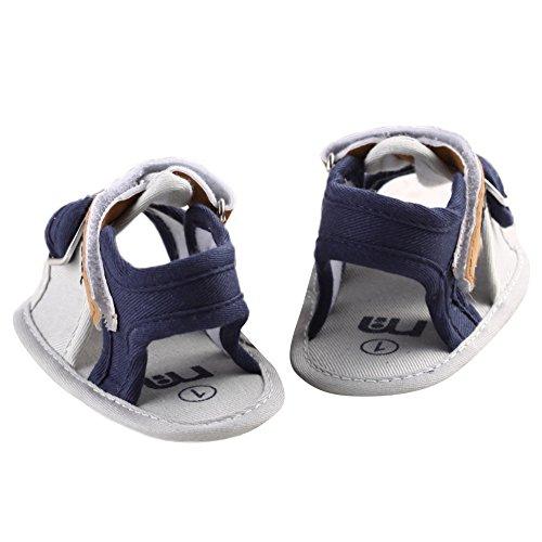 WAYLONGPLUS Baby-Kind-Jungen Prewalker Sommer Leinwand Anti-Rutsch-weiche Schuhe Hellblau