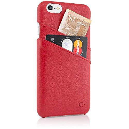 delightable24 Echtleder Designer SMART CASE Schutzhülle für Apple iPhone 6 / 6S Smartphone - Schwarz Rot