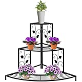 NAYAB HANDICRAFTS Black Floral Design Metal Step Style 3 Tier Corner Shelf For Flower Pots, Planters Display Stand / Shoe Rack
