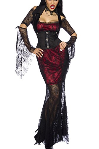 exen Kostüm Outfit Damen schwarz-rot XS-M Verkleidung sexy Kleid, Corsagen-Weste, Kragen, 2 Ärmel (Hexe Outfits)