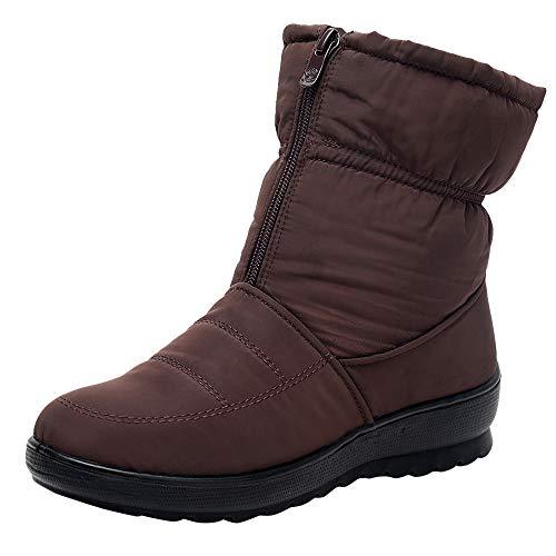 MYMYG Damen Schneestiefel Winter Wasserdichte Short Schneeschuhe Schuhe warme Schuhe Kurz Winter Stiefel Wildleder Warme Plüsch Gefüttert Winterstiefel