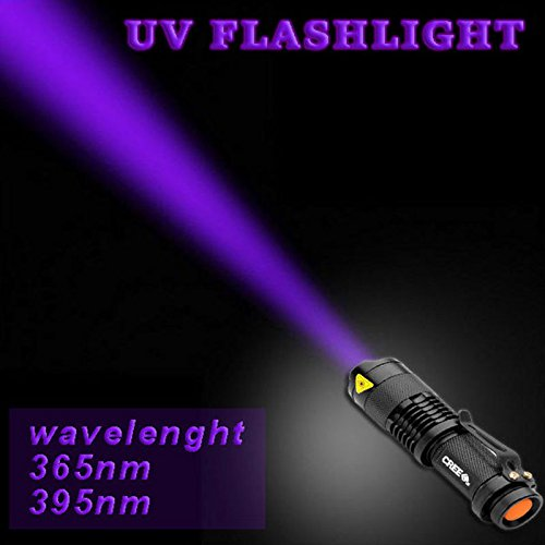 Gladle 3Modo Potente Linterna luz Ultravioleta con táctico Ajustable