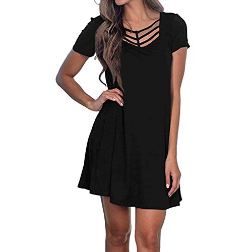 LILIHOT Frauen Sommer Kurzarm Swing T Shirt Kleid Criss Cross Ausschnitt Casual Dress Boho Bohemian Kleid Vintage Kleid Lose Casual Swing Kleid Sommerkleid A-Linie Minikleid Swing Strandkleid Criss Cross Trim