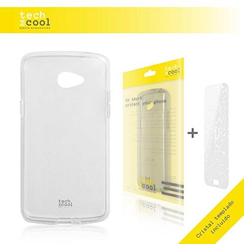 TechCool LG K5 Hülle, SchutzHülle Premium Soft Flex TPU Silikon Transparent für LG K5 + Panzerglas Schutzfolie 9H l Case, Cover, Handy [Ultra Dünn 1,5mm] [Kratzfest] (Klar)