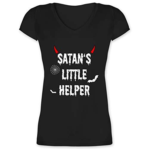 Halloween für Erwachsene - Satan's Little Helper - Halloween - Teufel - Hörner - Fledermaus - L - Schwarz - XO1525 - F281N - Lady-Fit Frauen Damen T-Shirt mit V-Neck