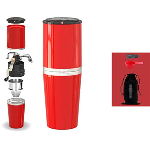 SDKF Manuelle Kaffeemühle Kaffeemaschine Handshake Tragbare Kleine Handmühle Mini Mahlen Einer Tasse 2 Farben, 8.5 * 8.5 * 23.4cm (Farbe : B)