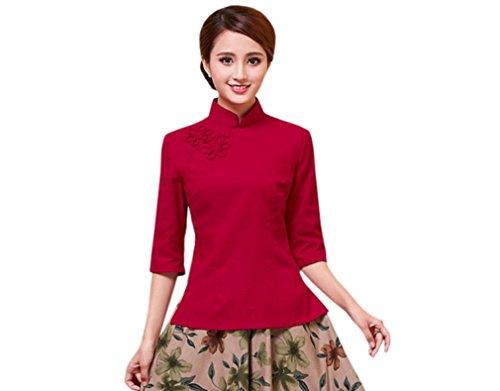 ACVIP Femme Veste de Tang avec Manche Demie en Coton de Chanvre Chemise Blouse avec Col Montant, Couleur Pure Rouge