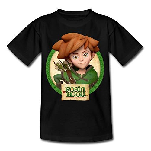Spreadshirt Robin Hood Schlitzohr Von Sherwood Lächelnd Kinder T-Shirt, 110/116 (5-6 Jahre), Schwarz