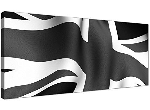 Union Jack Leinwand (Billige schwarz und weiß Leinwand Art der Union Jack-Modernes Leinwände-1019-Wallfillers®)