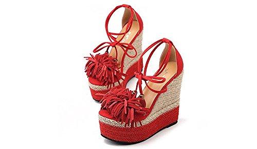 LvYuan Sandales d'été pour femme / Sexy Ultra High Heel / Plateforme imperméable à l'eau / tressage à la paille / Talon compensé / Boucle de talon / Bureau et carrière / Chaussures romaines Red
