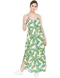 Robe longue à bretelles à imprimé tropical