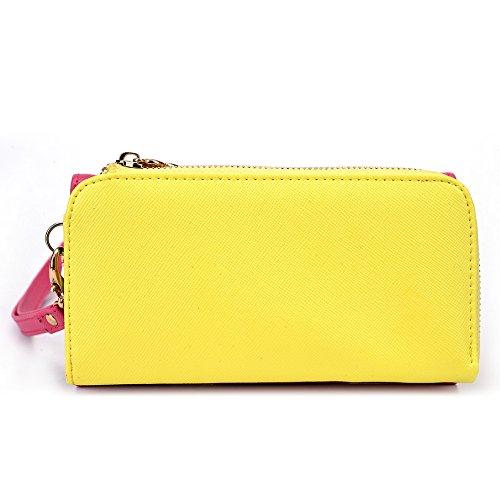 Kroo d'embrayage portefeuille avec dragonne et sangle bandoulière pour Smartphone Samsung Galaxy Core Plus Black and Orange Magenta and Yellow