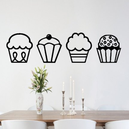 dining room wall art amazon. v\u0026c designs ltd (tm) cupcakes kitchen dining room wall sticker art vinyl decal mural - regular size (large also available!) amazon a