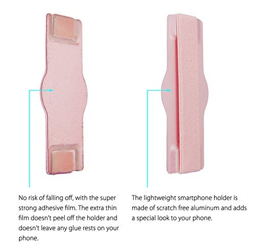 MyGadget Fingerhalterung optimalen Einhandbedienung Fingerhalter Griff Smartphone Handy u.a. iPhone 7, 6, Plus, Samsung Galaxy S6, S7, Edge in Silber Rosegold