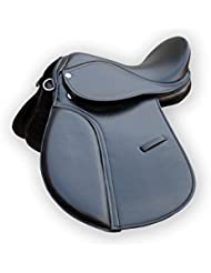 "Propósito general sintético halflinger Sillín de caballo en color negro (17"")"