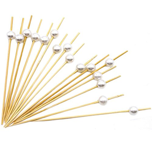 lumanuby 100 x BAMBUS Obstkorb Schild Cocktail Sticks Party Zahnstocher, Sandwich, Aperitif, Cocktail Deko für Hochzeit Party oder Home use-9 cm, Bambus, silber, 12 cm