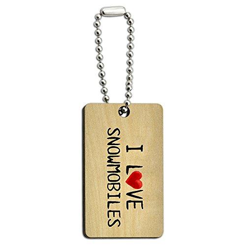 I love Motorschlitten geschrieben auf Papier Holz Rechteck Schlüssel Kette