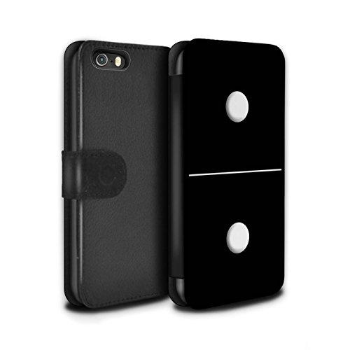 Stuff4 Coque/Etui/Housse Cuir PU Case/Cover pour Apple iPhone 5/5S / Tuile Noir 1/1 Design / Domino/Dominos Collection Tuile Noir 1/1