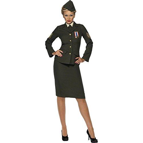 Smiffys, Damen Kriegszeit Offizier Kostüm, Rock, Jacke mit Orden, Hemdfront, Schlips und Mütze, Größe: L, 35335 (Damen Jacke Kostüme)