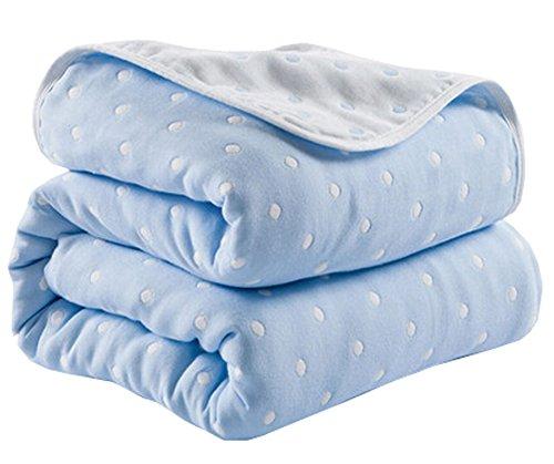 Black Temptation Breathable Weiche Baumwoll-Gaze Baby-Handtuch Quilt Kleinkind-Decken (Blau)#15