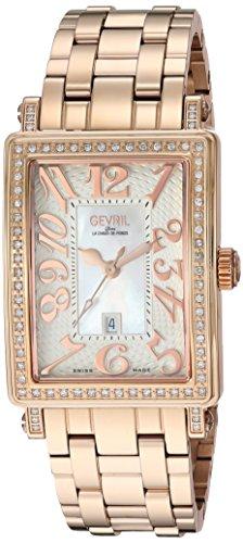 Gevril de la mujer 9349rlb Avenue Ladies Midsize IPRG caso blanco Dial Rose números IPRG pulsera banda reloj.