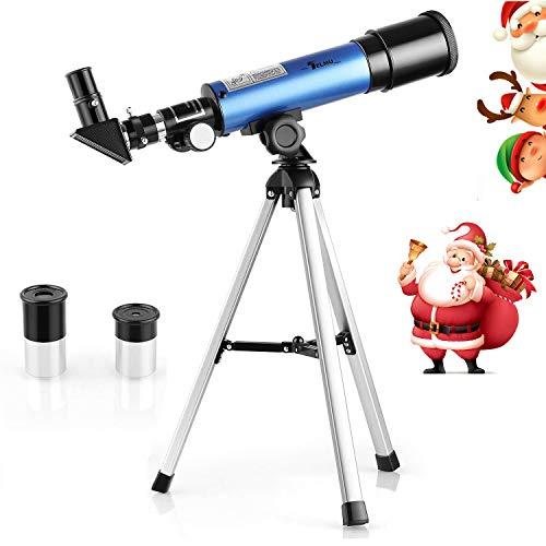 Telmu - Telescopio Astronomico para Niños F36050M Oculares Huygoens de H6mm y H20mm Telescopio Refractor para El Terrestre Y Cielo