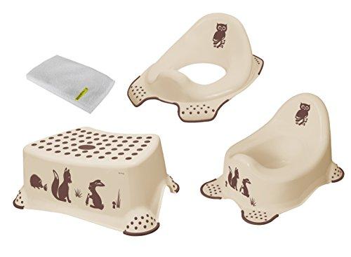 3er Set forest beige Kindertopf + WC Aufsatz + Hocker + Waschhandschuh Toilettentrainer Topf